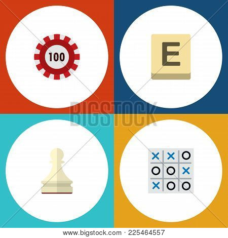 Icon Flat Entertainment Set Of Chip, Chess, Tic-tac-toe And Other Vector Objects. Also Includes Tabl
