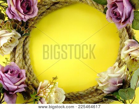 Space Background For Copy With Robe Border And Artificial Roses Flowers Decor