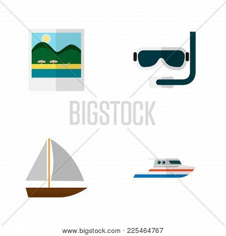 Icon Flat Summer Set Of Aqualung, Pictures, Ship And Other Vector Objects. Also Includes Yacht, Boat