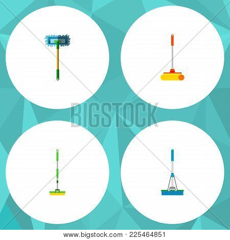 Icon Flat Broomstick Set Of Broomstick, Mop, Sweep And Other Vector Objects. Also Includes Mop, Swee