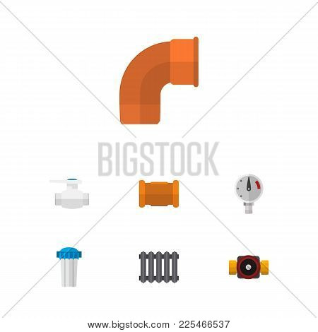 Icon Flat Pipeline Set Of Cast, Radiator, Faucet And Other  Objects. Also Includes Valve, Pipe, Cast