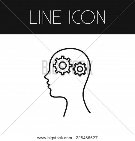 Isolated Intelligence Icon Line. Thinking  Element Can Be Used For Intelligence, Thinking, Idea Desi