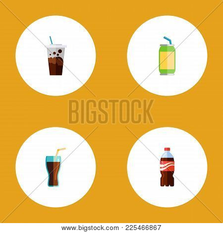Icon Flat Drink Set Of Beverage, Soda, Cup And Other  Objects. Also Includes Drink, Beverage, Cup El