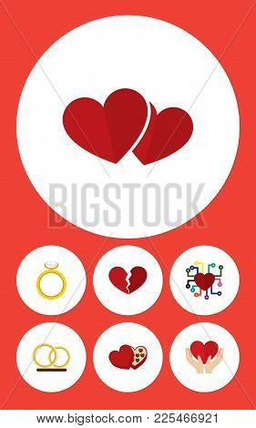 Icon Flat Amour Set Of Broken Heart, Feeling, Love And Other  Objects. Also Includes Heart, Engageme