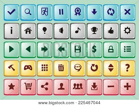 game interface buttons set, for app icons contains different colours, buttons sets for creating 2d game