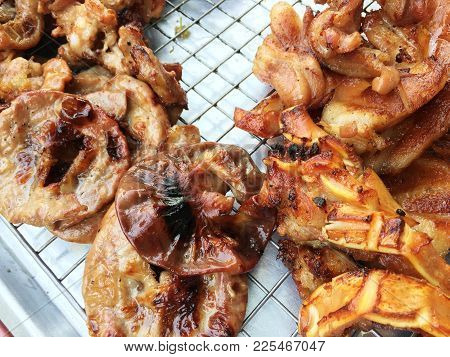 Asian Traditional Street Food With Grilled Pork Intestine And Duck, Lamb, Liver, Chicken Offal In A