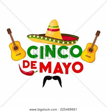 Mexican Cinco De Mayo Fiesta Party Greeting Card. Sombrero Hat, Chili Pepper And Flamenco Guitar, Ja