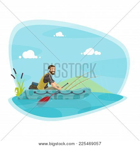 Fishing Sport Icon Of Boat Fishing Outdoor Activity. Fisherman Fishing From Rubber Boat On Lake Or R