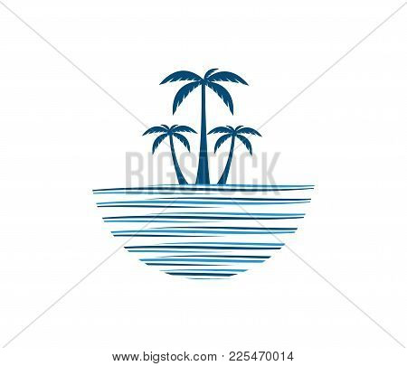 Hotel Tourism Holiday Summer Beach Coconut Palm Tree Vector Logo Design For Resort Home Stay Hospita