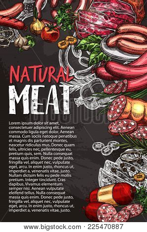 Natural Meat Product Blackboard Poster With Sausage, Spice And Condiment Chalk Sketch. Grilled Beef