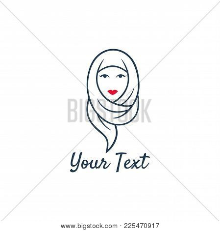 Young Lovely Muslim Girl Flat Design Logo Vector, Template