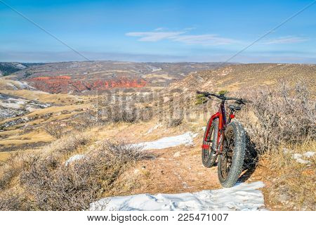 fat bike on desert trail (Cheyenne Rim) in  Red Mountain Open Space north of Fort Collins, Colorado