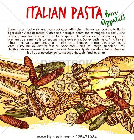 Italian Pasta Sketch Poster With Assortment Of Macaroni Shapes. Spaghetti, Penne, Fusilli And Rigato