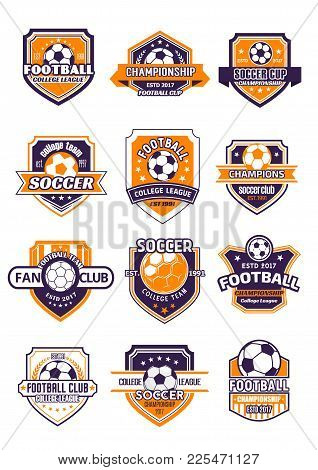 Football Sport Club Shield Badge For Soccer Championship Of College League. Soccer Ball Heraldic Sym