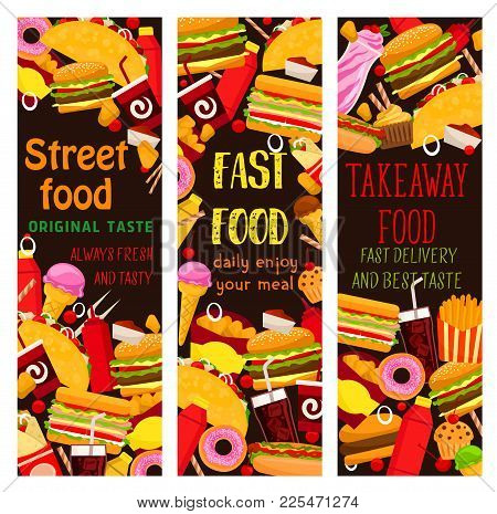 Fast Food Restaurant Banner With Takeaway Lunch Meal. Hamburger, Hot Dog And Cheese Sandwich, Fries,