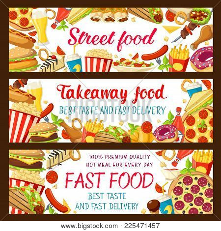 Fast Food Restaurant And Street Cafe Banner Set. Hamburger, Cheeseburger And Sandwich, Pizza, Fries,