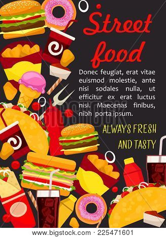 Fast Food Lunch Poster With Burger And Drink. Hamburger, Hot Dog And Sandwich, Fries, Cheeseburger A