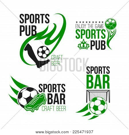 Sport Pub Icon With Football Game Items. Soccer Ball, Player And Goal Gate Isolated Symbol, Decorate