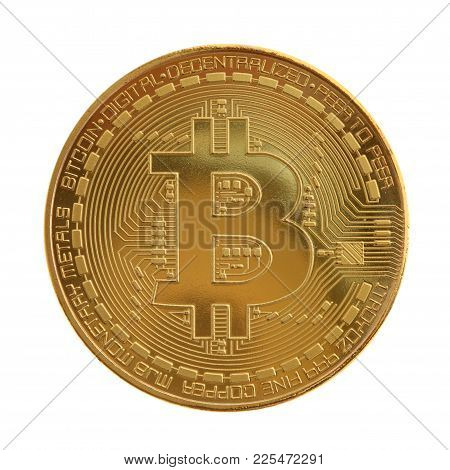 Close Up Of Golden Bitcoin Isolated On White Background
