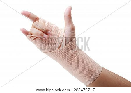 Medicine Bandage On Human Hand Love Symbol Isolated On White Background, Clipping Path.