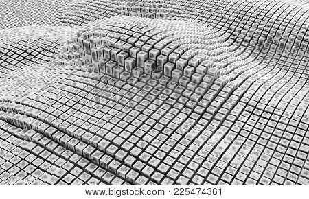 3d Rendering. Cubes, Columns, Squares, And Rectangles. Three-dimensional Geometric Elements Are Arra