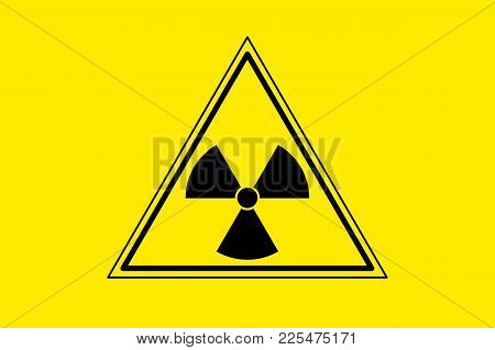 Yellow Radiation Sign Triangle On Yellow Background, Flat Icon. Warning About Threat To Life, Danger