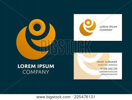 Creative Business Card Template With Yellow Abstract Logo. Name, Work Position, Phone, Website And E