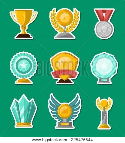 Golden And Glassy Trophy Cups And Awards Of Different Shape Set Isolated Vector Illustration. Winner