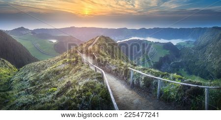 Mountain Landscape With Hiking Trail And View Of Beautiful Lakes, Ponta Delgada, Sao Miguel Island,