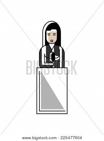 Asian Businesswoman Speech On Tribune. Corporate Business People Isolated Vector Illustration In Lin