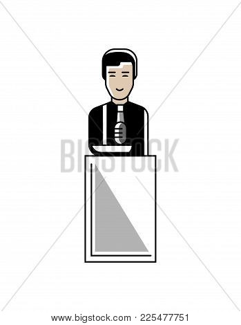 Asian Businessman Speech On Conference Tribune. Corporate Business People Isolated Vector Illustrati
