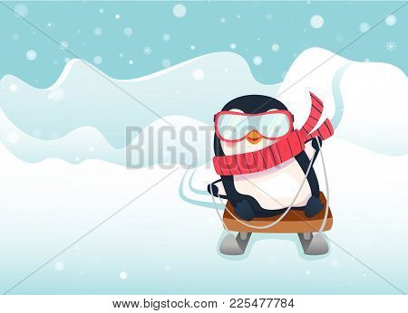Penguin On Sled. Penguin Cartoon Illustration. Sledging