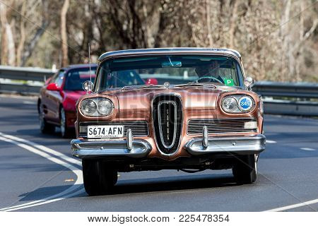 Adelaide, Australia - September 25, 2016: Vintage 1958 Edsel Citation Convertible Driving On Country