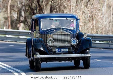 Adelaide, Australia - September 25, 2016: Vintage 1926 Rolls Royce 20 Hp Sedan Driving On Country Ro