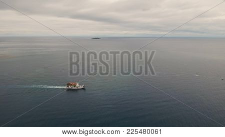 Aerial View Passenger Ferry Floats In The Blue Sea.asian Passenger Boat Floating In The Ocean.philip
