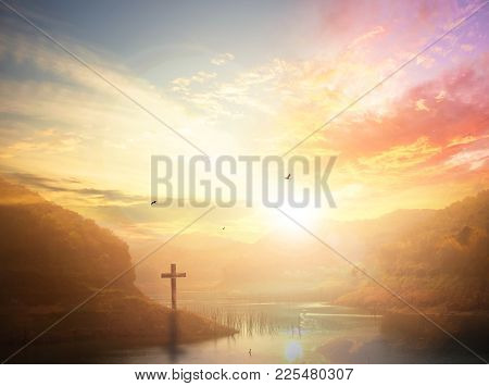 Crucifixion Of Jesus Christ - Cross At Sunset