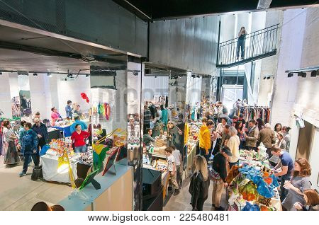 Moscow, Russia-may 25, 2017: Cheese Market,locals And Tourists Shop On One Of The Flacon Design Fact