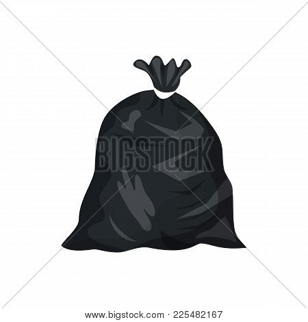 Plastic Garbage Bag Icon. Container For Trash Isolated On White. Garbage Recycling And Utilization E