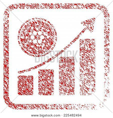 Cardano Growing Chart Rubber Seal Stamp Watermark. Icon Vector Symbol With Grunge Design And Corrosi