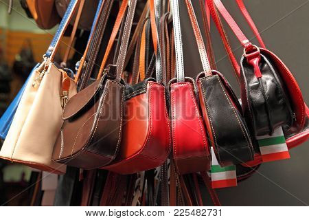 Handmade Women Bags Sold At The Market. Street Shopping For Handbags