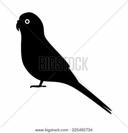 Budgerigar Or Budgie Parrot Silhouette Icon In Flat Style. Australian Tropical Bird Symbol On White