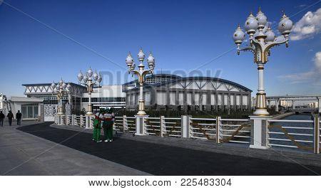 Ashgabat, Turkmenistan - April 6, 2017.  Part Of The Sport Complex.  5 Th Asian Indoor Games And Mar