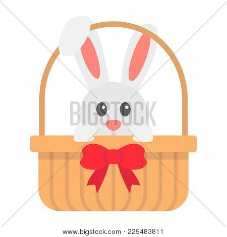 Easter Bunny In Basket Flat Icon, Easter And Holiday, Rabbit Sign Vector Graphics, A Colorful Solid