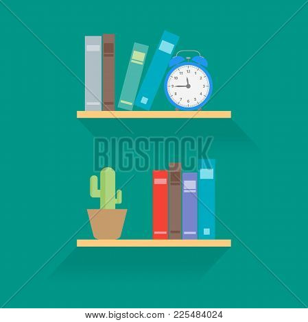 Bookshelves With Books In A Flat Style. Cactus On The Shelf And Blue Hours. Green Background. Vector
