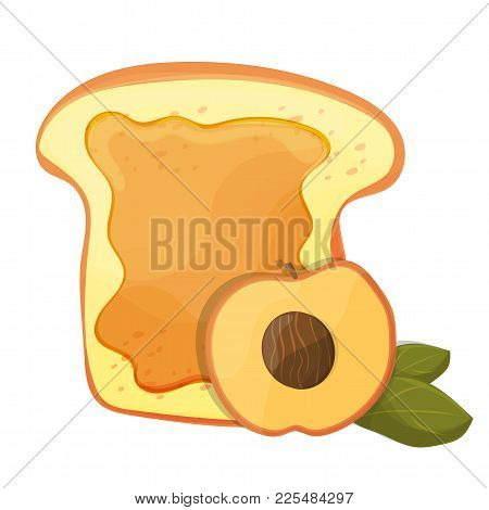 Peach Or Apricot Jam Breakfast Toast, Vector Morning Meal Illustration - Food Icon