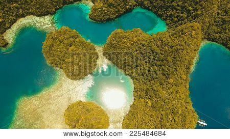 Aerial View: Bucas Grande Island, Sohoton Cove. Philippines. Tropical Sea Bay And Lagoon, Beach. Tro