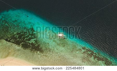 Aerial View Of Tropical Beach On The Island Pamilacan, Philippines. Beautiful Tropical Island With S