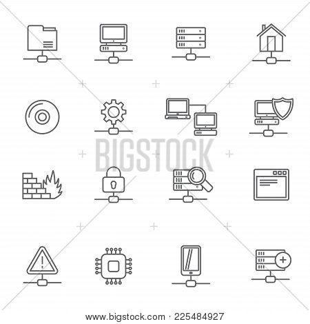 Line Network, Server And Hosting Icons  - Vector Icon Set