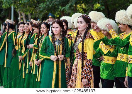 September, 12, 2017. Ashgabat, Turkmenistan: A Group Of Dancers Before The Performance At The Kurban