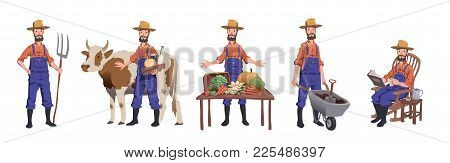 Farmer Working At Farm, Caring For The Cow, Selling Farm Products And Resting. Man Character Set, Ve
